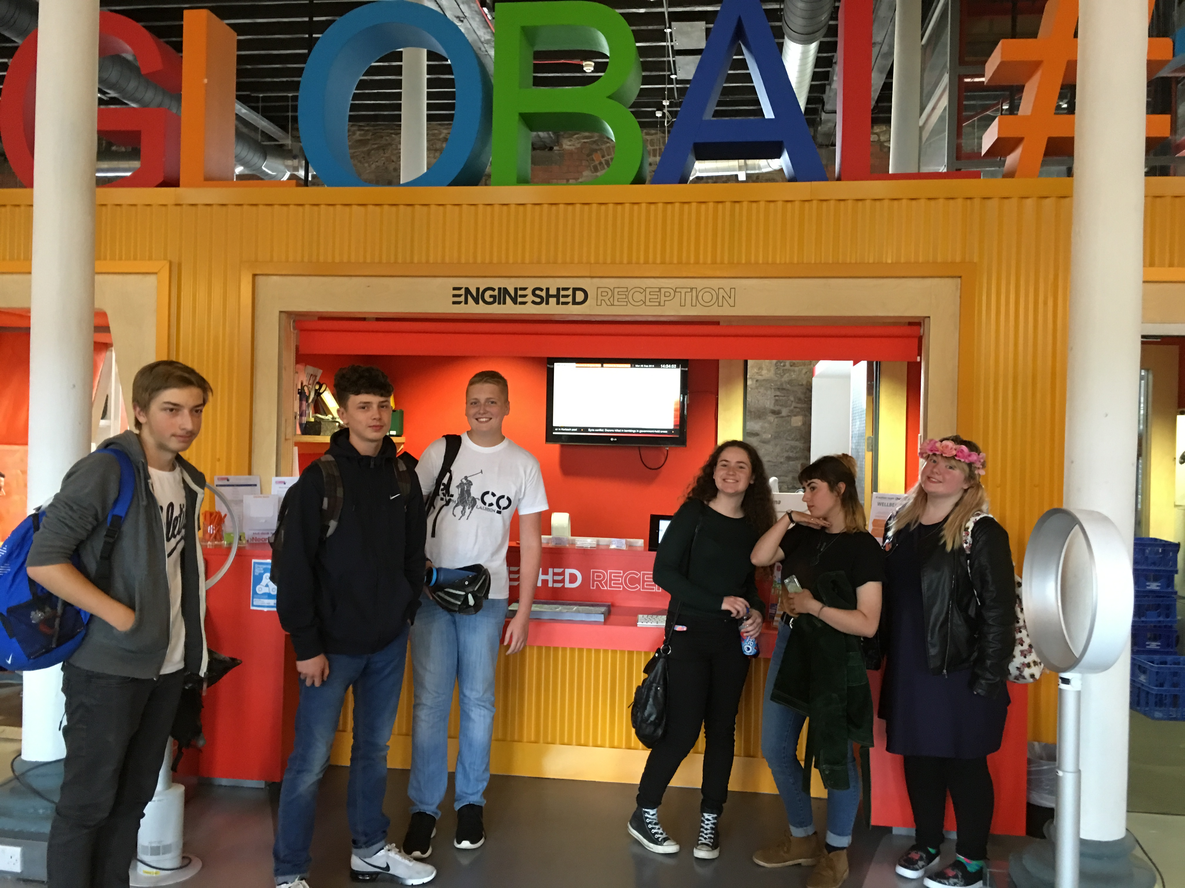 Students at Engine Shed reception